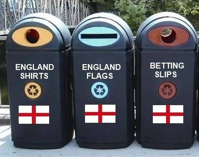 Recycling bins for England merchandise