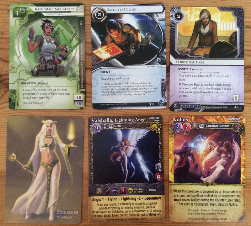 Cards from Netrunner and Mage Wars showing a range of womens bodies