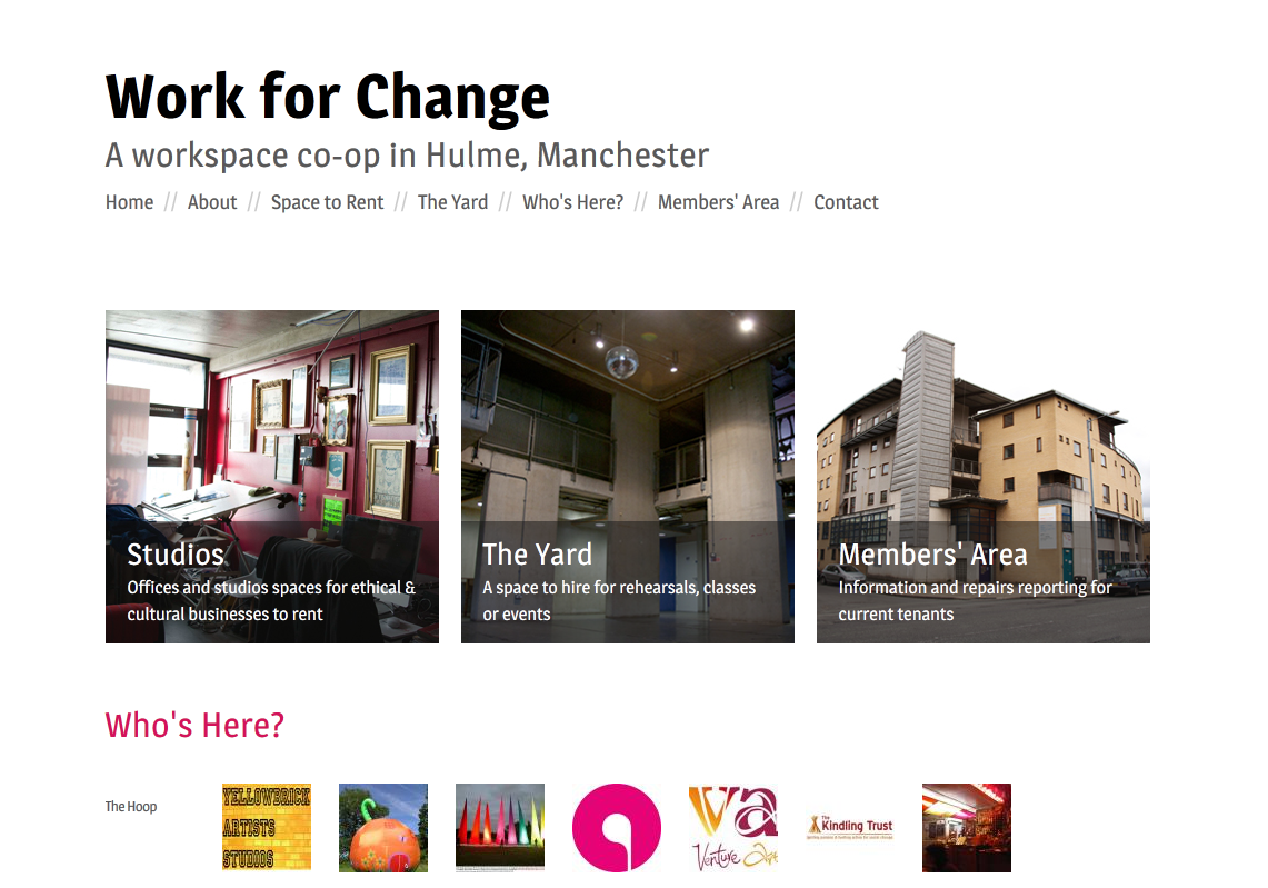 Screenshot of Work for Change's website